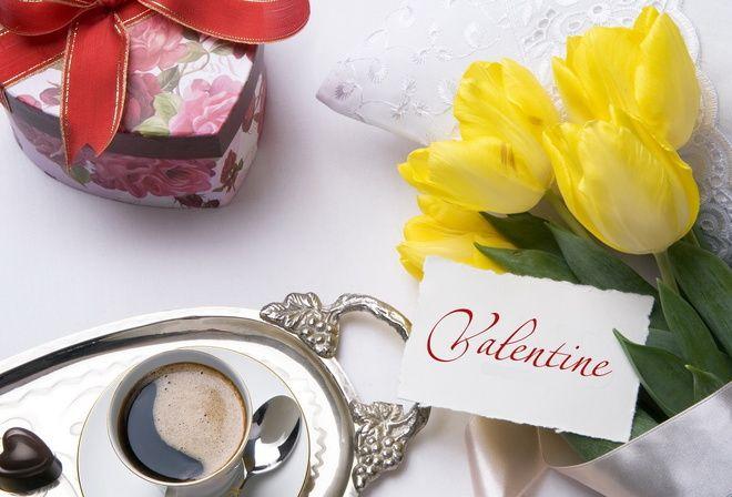 кофе, тюльпаны, Day valentine, день святого валентина
