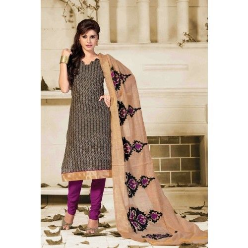Unstitched Salwar Suit-Black With Purple Color Cotton Embroidery Work Unstitched Salwar Kameez Suit By Thambi shopping