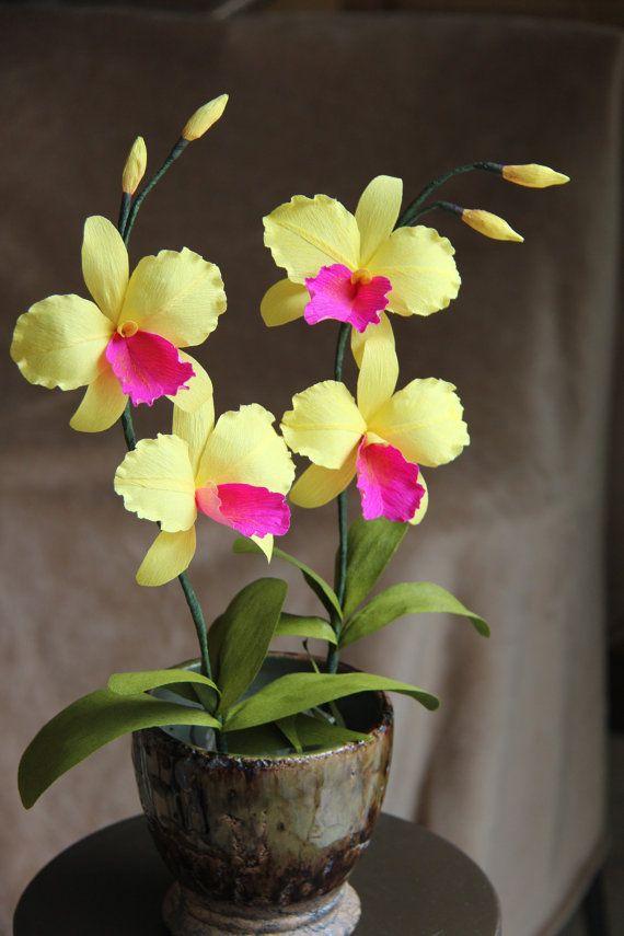 Handmade Orchid  Paper orchid   Cattleya Orchid   by FlowerBazaar, $18.00