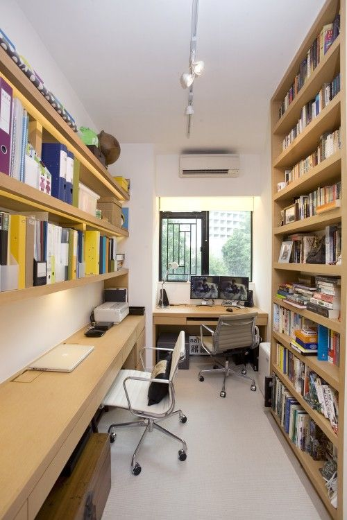 floor to ceiling shelving  long narrow desk - great for a small space office