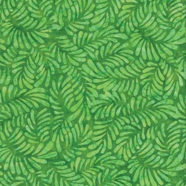 Wilmington Prints Batavian Batiks Stem Green Feathers and Fronds | Quilting | Fabric