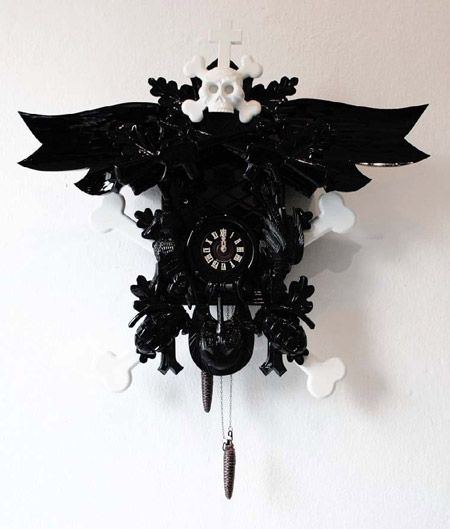 Clocks by Stefan StrumbelDark Cuckoo, Black Clocks, Coucous Clocks, Art, Stefan Strumbel, Cuckoo Clocks, Coos Clocks, Dark Goth Macabre Decor, Black Skulls