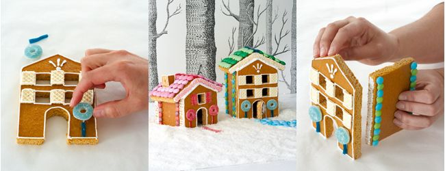 Build a gingerbread house. Simple. Template, recipe.