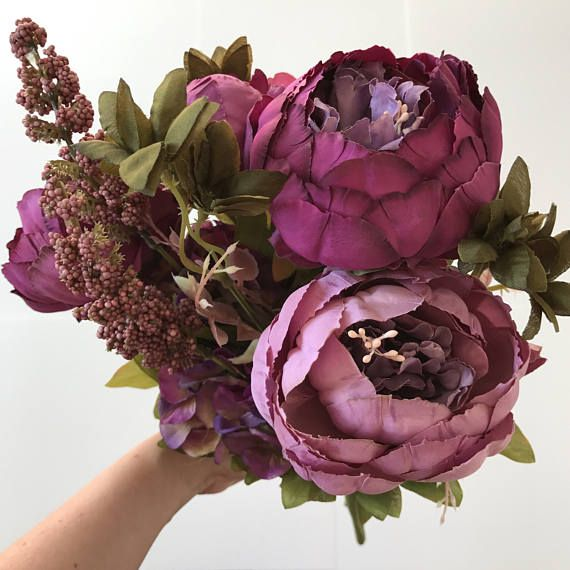Purple Artificial Peony Bouquet Berry Sprays Large Bouquet