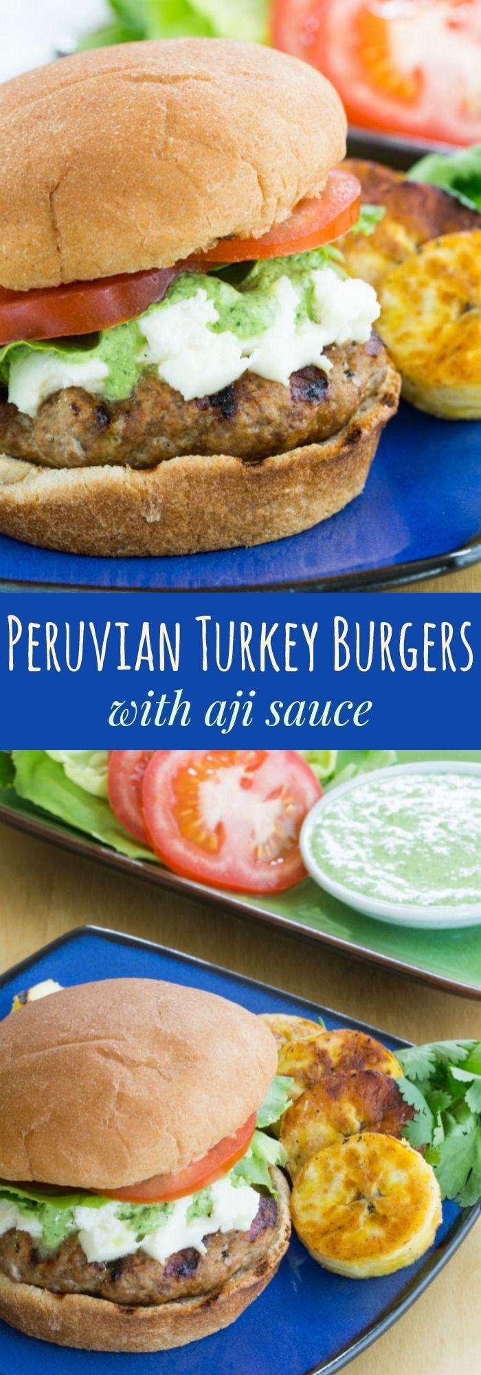 Peruvian Turkey Burgers with Aji Sauce