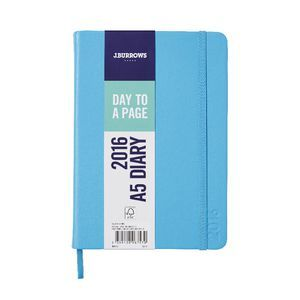 J.Burrows A5 Day to Page 2016 Fun PU Diary Blue