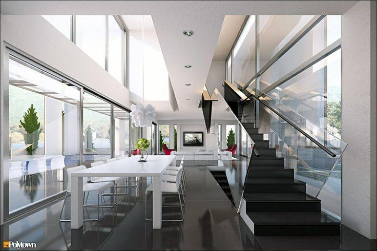 modern mansion | living room | dining room | mansion | bright