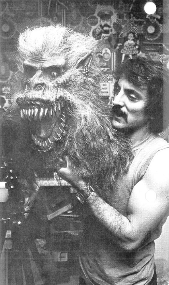 """Tom Savini with """"Fluffy"""" the Crate Beast on the set of Creepshow ."""
