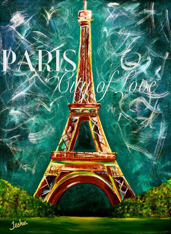 Vintage L'amour a Paris Moonlight Eiffel Tower Painting Print