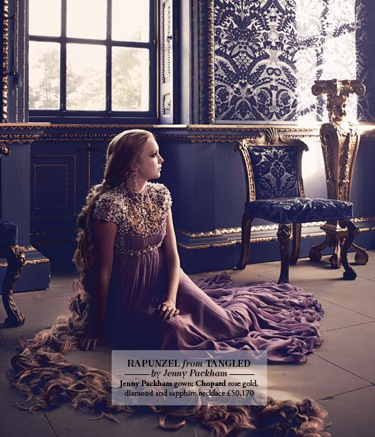 Harrods' Disney Princesses 2012.  Rapunzel's dress by Jenny Packham. Photo by Jason Ell for Harrods Magazine.