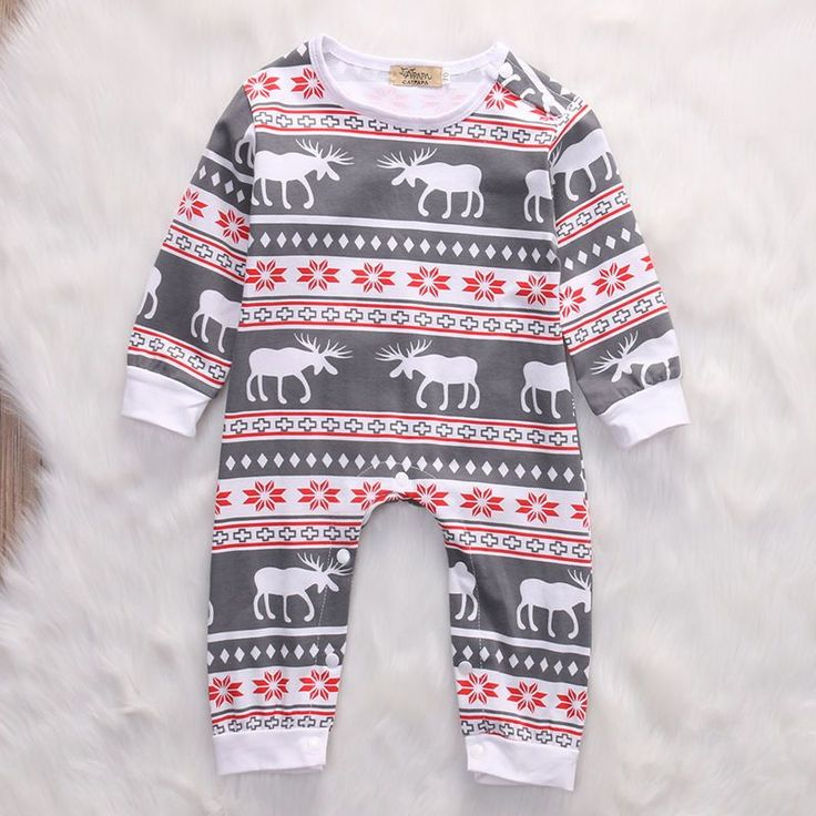 Christmas Baby clothes adorable sleeper with moose in babies sizes 3 month 6 month and 12 month shopping for babies boy girl holiday wear.