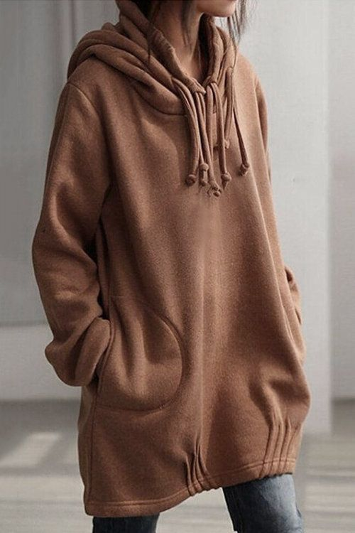 Brown Easy-matched Midi Hoodie With Side Pockets
