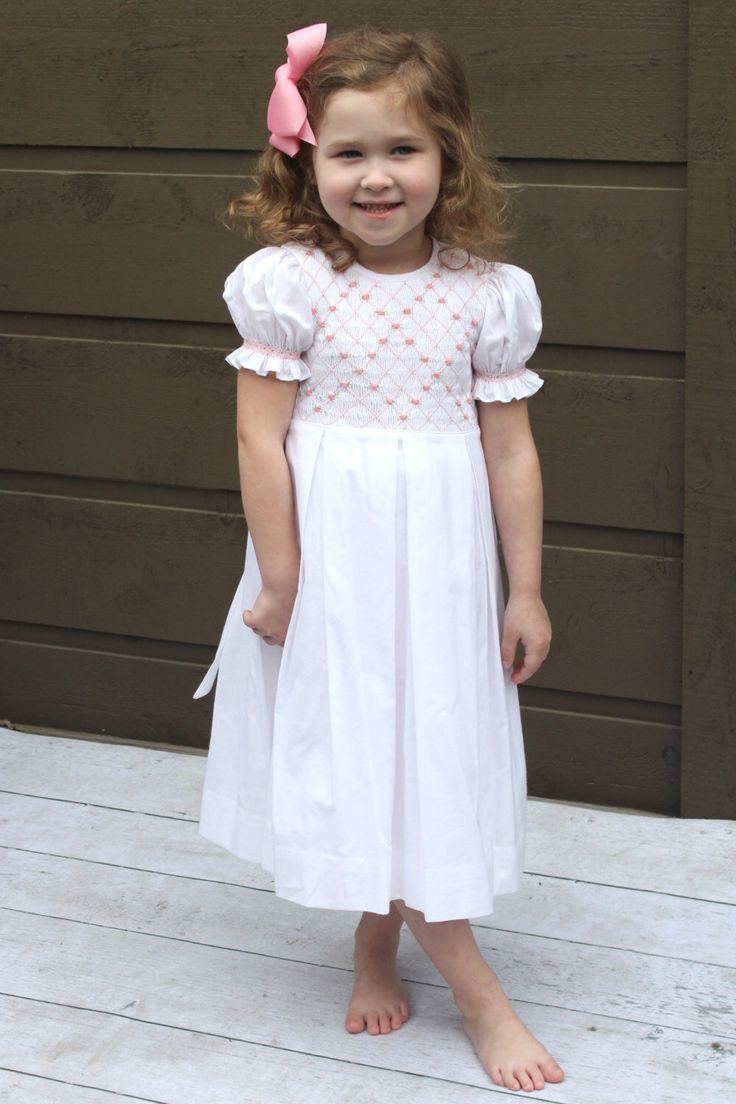 Smocked Easter Dress for girls, handmade Heirloom Dress - Birthday Dress - Family Photos by SavannahChildren on Etsy https://www.etsy.com/listing/263844187/smocked-easter-dress-for-girls-handmade