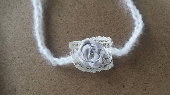Fabric  and lace flower headband. Tie Back Headband for babies.  Photography Prop Photo props.