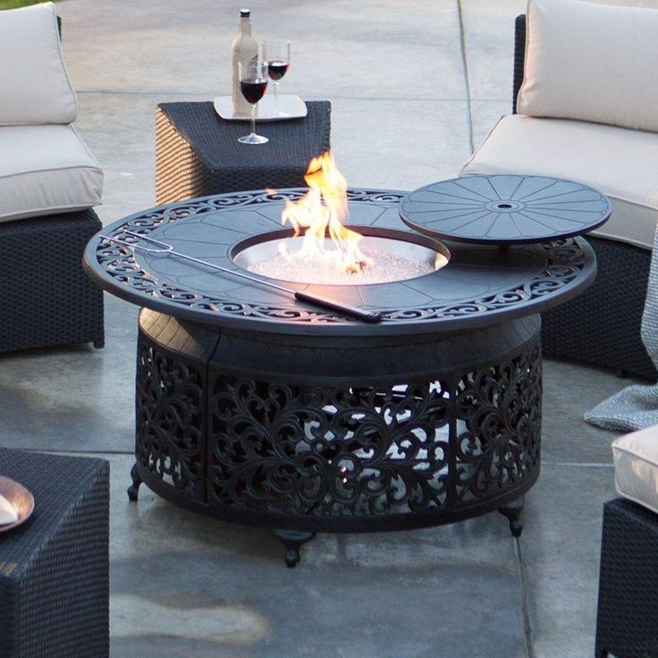 Round Gas Fire Pit Chat Table   Perfect For Pairing With Your Outdoor Deep  Seating Collection, The Belham Living Cast Aluminum 48 In. Part 66