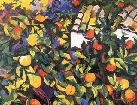 """Renato Guttuso: """"Aranceto"""" (1957)-Olio su tela 50x75"""