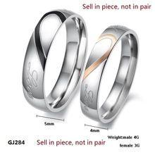 Stainless Steel Silver Half Szív Egyszerű Kör Real Love pár gyűrű Eljegyzési gyürük eladni egyetlen gyűrűt GJ284 (Kína (szárazföld))
