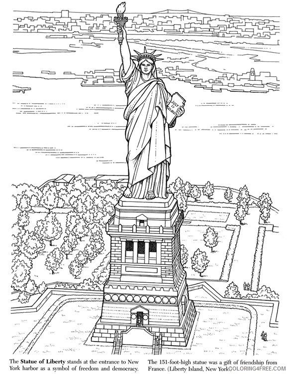 Statue Of Liberty Coloring Pages For Adults American Landmarks