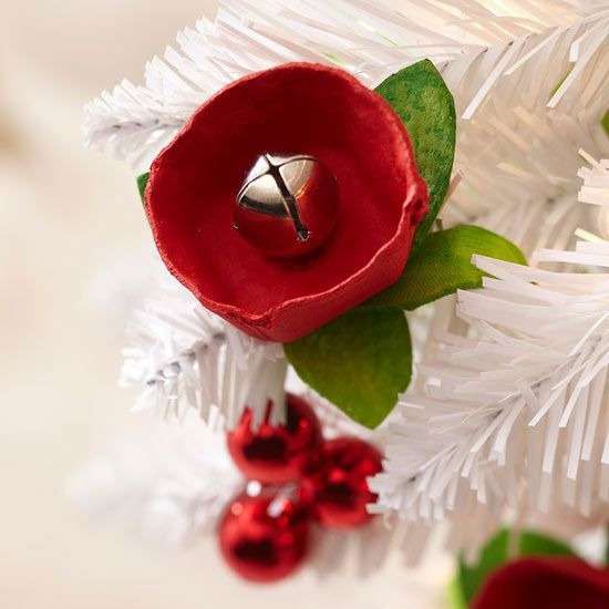 Jingle Bell Flower Ornament. Upcycle an egg carton to create jingle bell roses for your Christmas tree.