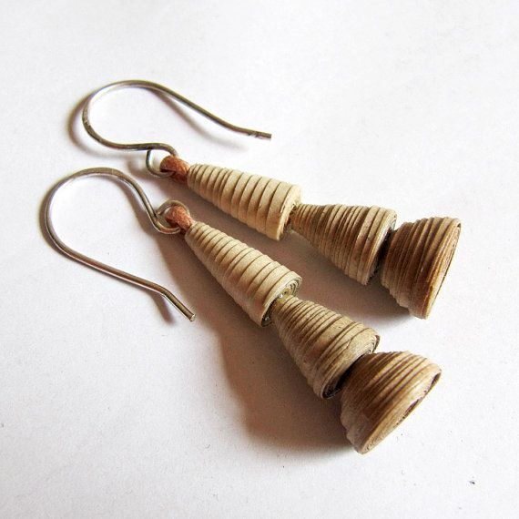 Zen Earrings Eco friendly jewelry 1st wedding anniversary gift by PaperMelon made with recycled paper