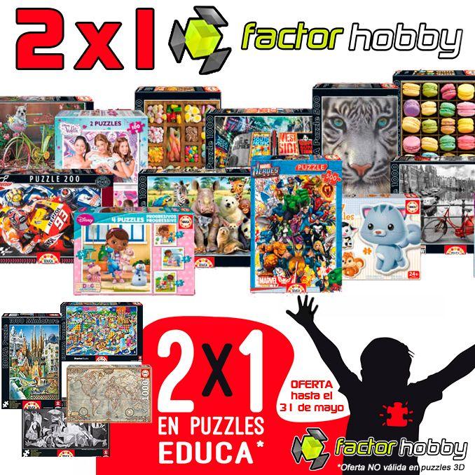 www.factorhobby.com te ofrece el 2x1 en Puzzles  Educa en mayo 2017, sólo tienes que añadir en las observaciones de tu pedido la segunda referencia que quieres llevarte gratis de nuestra web! (En nuestro blog te detallamos más sobre la oferta)