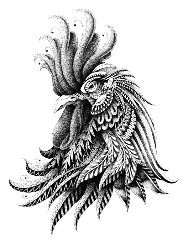 Ornately Decorated Rooster by BioWorkZ , via Behance
