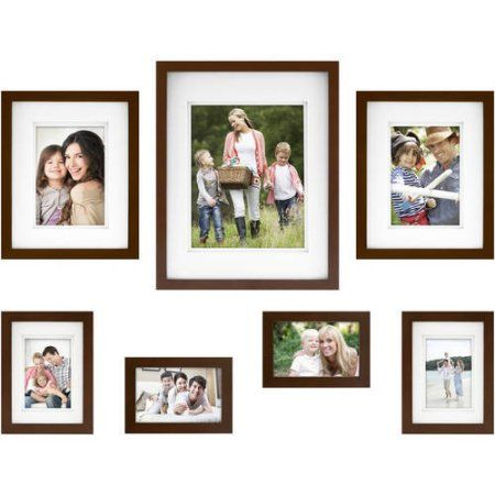 mainstays 7 piece thin gallery wall frame set available in multiple colors brown