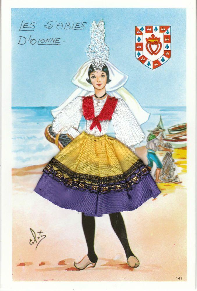 Carte postale fantaisie sablaise en costume tissu et - Dessin costume ...