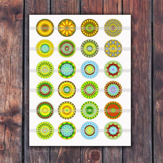 Mandala Digital Collage Sheet. Kaleidoscope images. Printable. Digital Collage Sheet. 10 mm, 20 mm, 1.0 inch, 1.5 inch, 2 inch Circles. INSTANT DOWNLOAD. NO PHYSICAL ITEM WILL BE SHIPPED!  This listing is for an DOWNLOAD a high resolution 6 JPEG files You can use these images for: * Glass Pendant * Resin Pendant * Bottle Cap * Magnets * Scrapbooking embellishments And so much more...   What you get: 6 JPEG files size 8,5x11 300 dpi The original file does not contain any watermarks.  My…