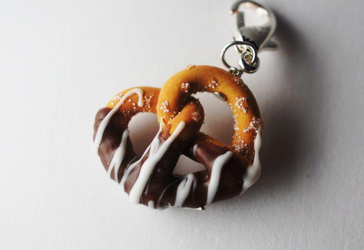Chocolate Dipped Pretzel Pendant Charm, Miniature Food Jewelry, Polymer Clay Food Charm. $6.00, via Etsy.