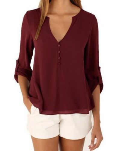 Women-Summer-Tops-Sexy-V-Neck-Chiffon-Blouse-Casual-Loose-Long-Sleeve-T-Shirt