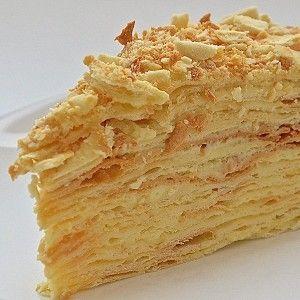 Торт «Наполеон» из рубленого теста с заварным кремом