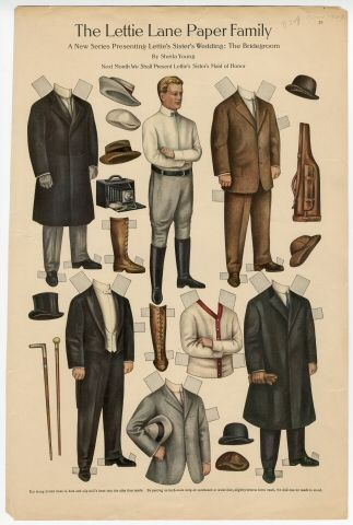 The Lettie Lane Paper Family: The Bridegroom paper doll 1909 Artist : Sheila Young: