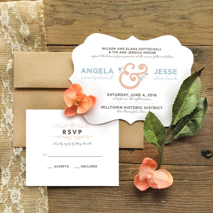 lotus flower wedding invitations%0A Floral Chic Wedding Invitation Set  Set of    with Kraft Envelopes by  Hoovercreative on Etsy