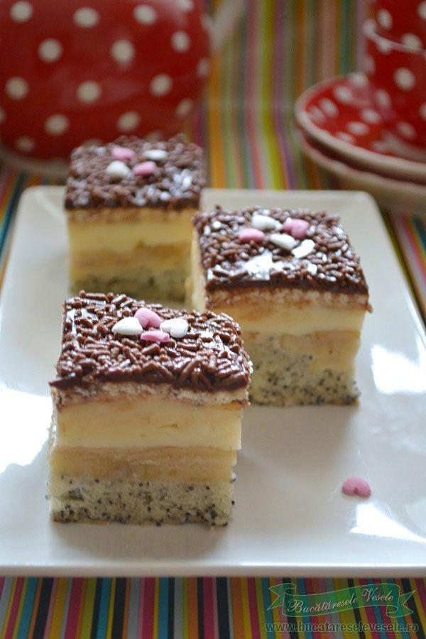 Reteta prajitura cu mere mac si crema de vanilie.Mod de preparare prajitura cu mere mac si crema de vanilie.Ingrediente Prajitura cu mere mac si crema de vanilie