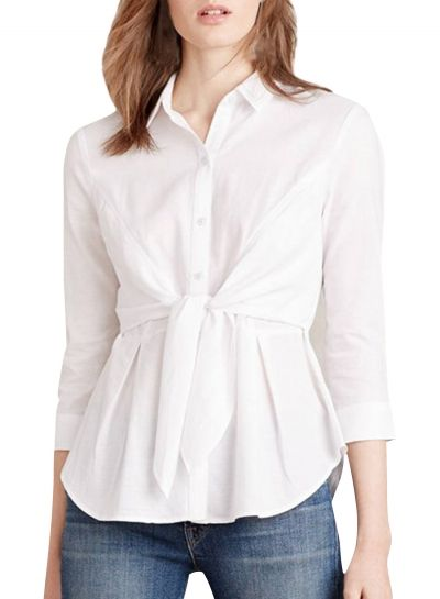 Women's Fashion Solid 3/4 Sleeve Tie Front Button Down Shirt