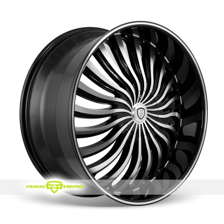 Borghini B24 Machined Black Wheels For Sale - For more info:  http://www.wheelhero.com/customwheels/Borghini/B24-Machined-Black