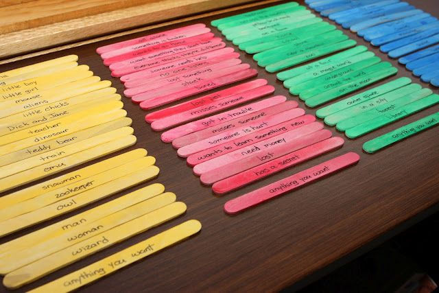 story sticks: Great lesson: This lesson would be great to give kids ideas for different types of stories to write. You simply pick a stick from each color and then make a story that has that person, action, place, and thing. This will get kids creative juices flowing!