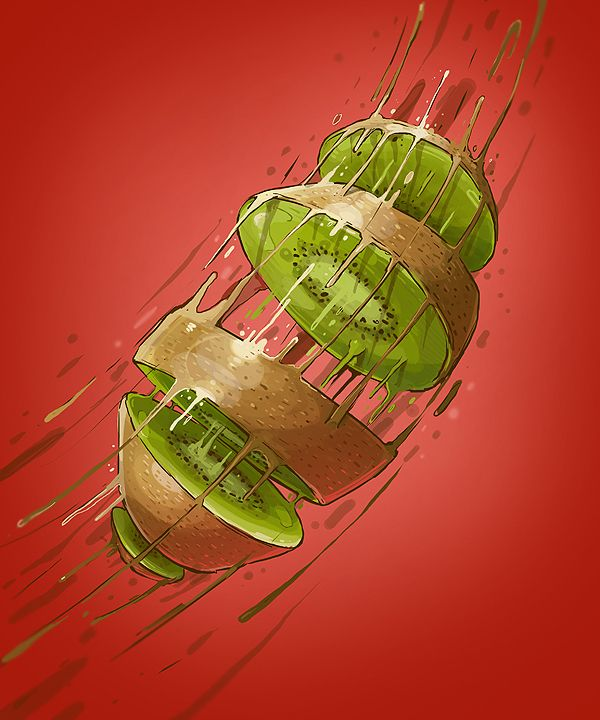 Kiwifruit - VITAMIN BOMB by Georgi Dimitrov : Erase, via Behance