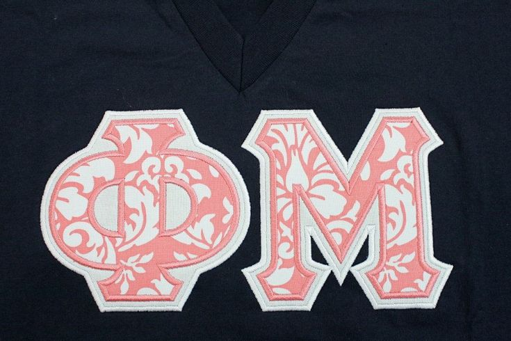 Sorority Greek Letters- Phi Mu - Coral Damask