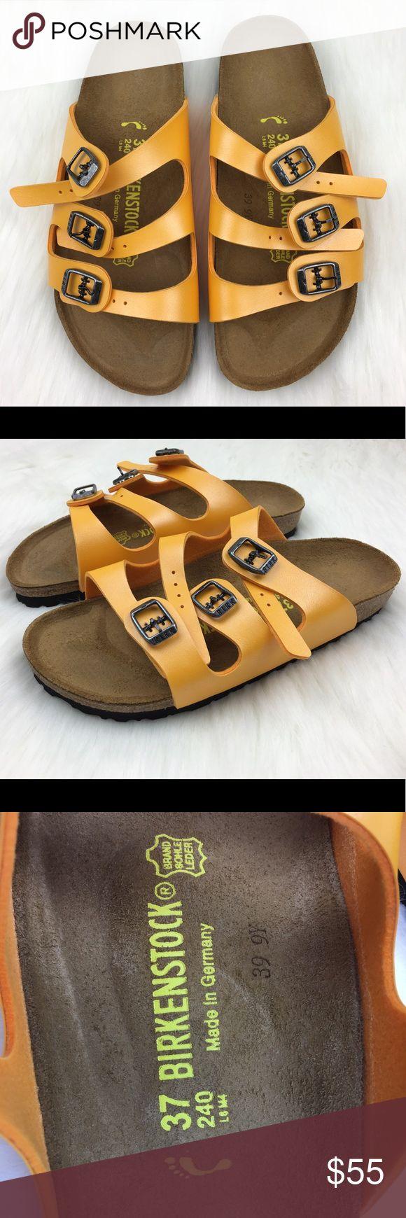 NEW Birkenstock Florida 3 Strap Yellow Sandals Birkenstock Florida Birko Flor 3 Strap Yellow Sandals Sz 37 US 6.5 Birkenstock Shoes Sandals