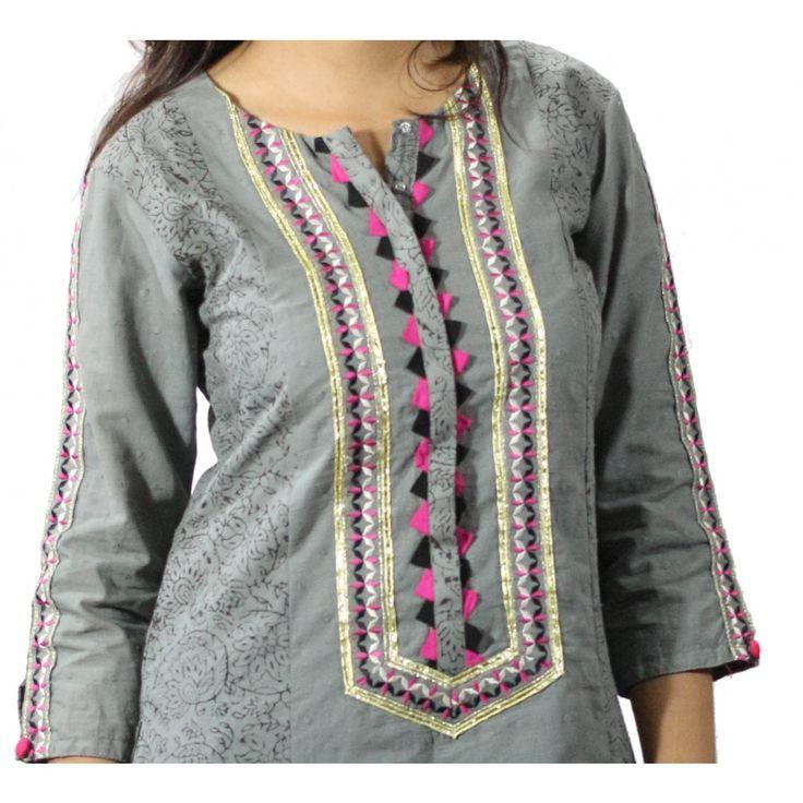 Grey Suit 3 Piece Cotton Lawn Suit Stitched - Meenabazar.PK