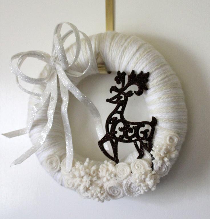 Deer Wreath, Winter Wreath, White Wreath, Yarn and Felt Wreath, 12-inch size. $45.00, via Etsy.