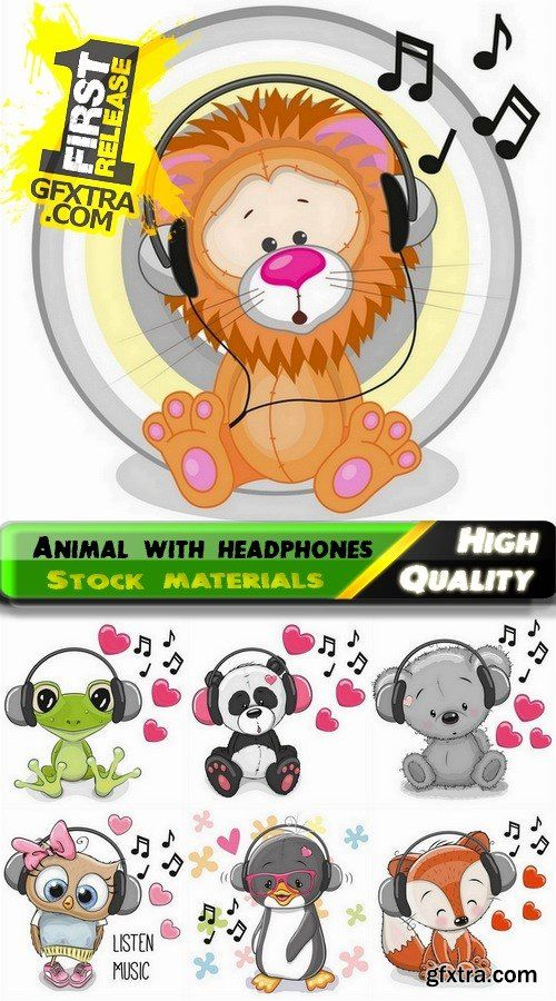 Wild animal and pet listening to music on headphones - 25 Eps