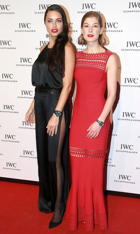 """Adriana Lima and Rosamund Pike stun at the IWC """"Come Fly with Us"""" gala on Tuesday in Geneva, Switzerland."""
