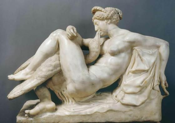 When a girl says no (it could happen you guys), just do it the 'Zeus-way': transform yourself into a swan and take what you want! Detail: the poor Leda could hatch a nest of eggs afterwards. Sculpture of Leda and the swan by Bartolomeo Ammanati (c. 1540).