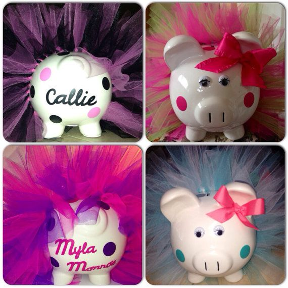 Awesome Christmas gift! Personalized Jumbo Piggy Bank with tutu, spots and bow on Etsy, $30.00