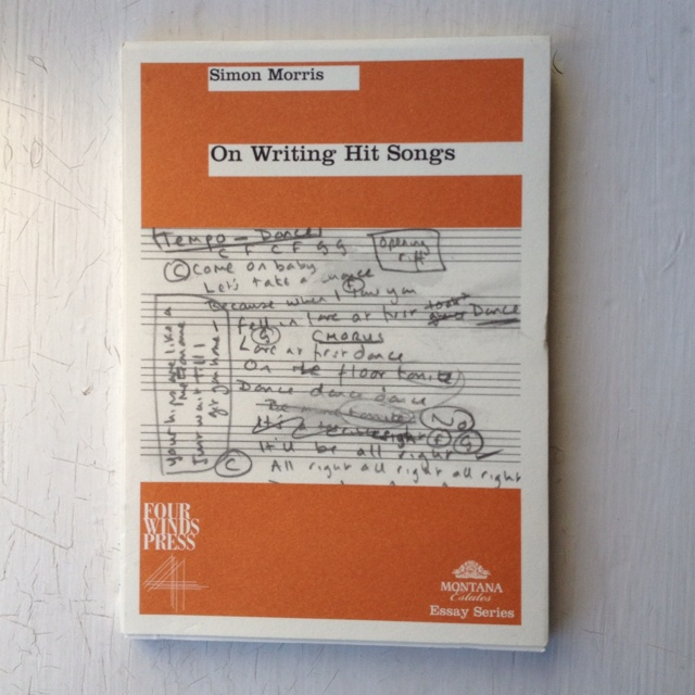 Cover of 'On writing hit songs' by Simon Morris, published by Four Winds Press, Wellington, 2003.