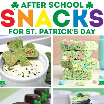 On St. Patrick's Day, treat your kiddos to a fun and festive after school snack! From sweet treats to healthy snacks, there's sure to be something here that they'll love: 1. Shamrock chips by Zakka Life 2. Lucky Charms Rice Krispie treats by Classy Clutter ...
