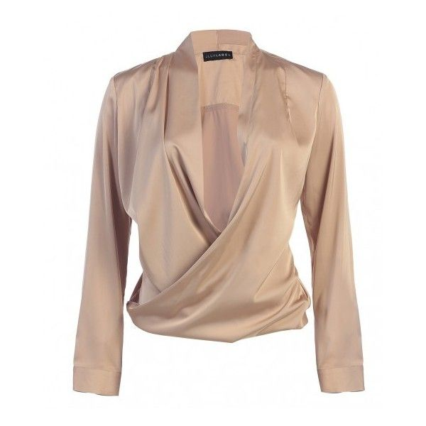 JLUXBASIX Gold Cross Draped Satin Blouse ($45) ❤ liked on Polyvore featuring tops, blouses, sexy gold top, gold blouse, draped blouse, drapey top and beige blouse